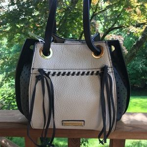 NWT BCBG Black Beige Tan Shoulder Bag Hobo